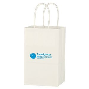 "Kraft Paper White Shopping Bag - 5-1/4"" X 8-1/4"""