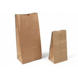 "White Kraft Stand Up Plain Paper Merchandise Bags (5""x3 1/8""x9 5/8"")"