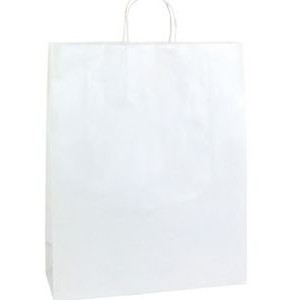 "Zebra Bright White Gloss Paper Shopping Bag (16""x6""x19 1/4"")"