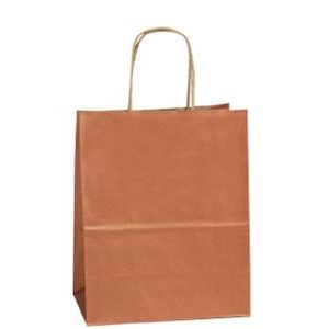 Copper Penny Zebra Precious Metal on Natural Kraft Paper Shopping Bag