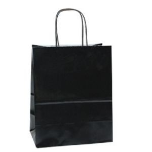 "Midnight Black Jaguar Gloss Color Paper Shopping Bag (16""x6""13"")"