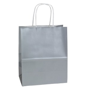 "Metallic Platinum Silver Jaguar Gloss Color Paper Shopping Bag (16""x6""x13"")"