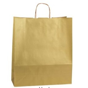 Gold Rush Zebra Precious Metal on Natural Kraft Paper Shopping Bag