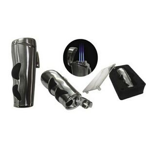 The Evolution Triple Flame Torch Lighter w/ Rubber Grip & Bullet Cutter in Gift Box